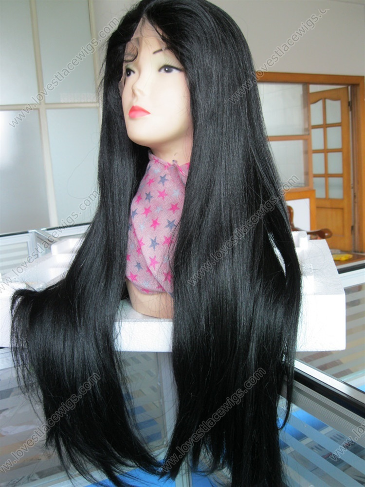 Heavy density yaki straight 100% virgin Brazilian hair full lace wigs