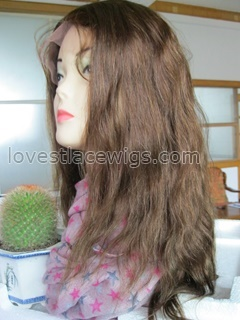 Silk top Indian remy hair natural straight lace front wig