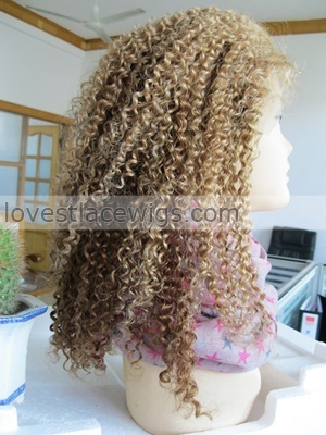 kinky curl full lace wigs indian remy hair