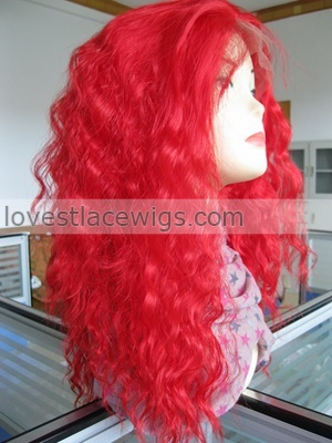 red loose wave cheap synthetic lace front wigs