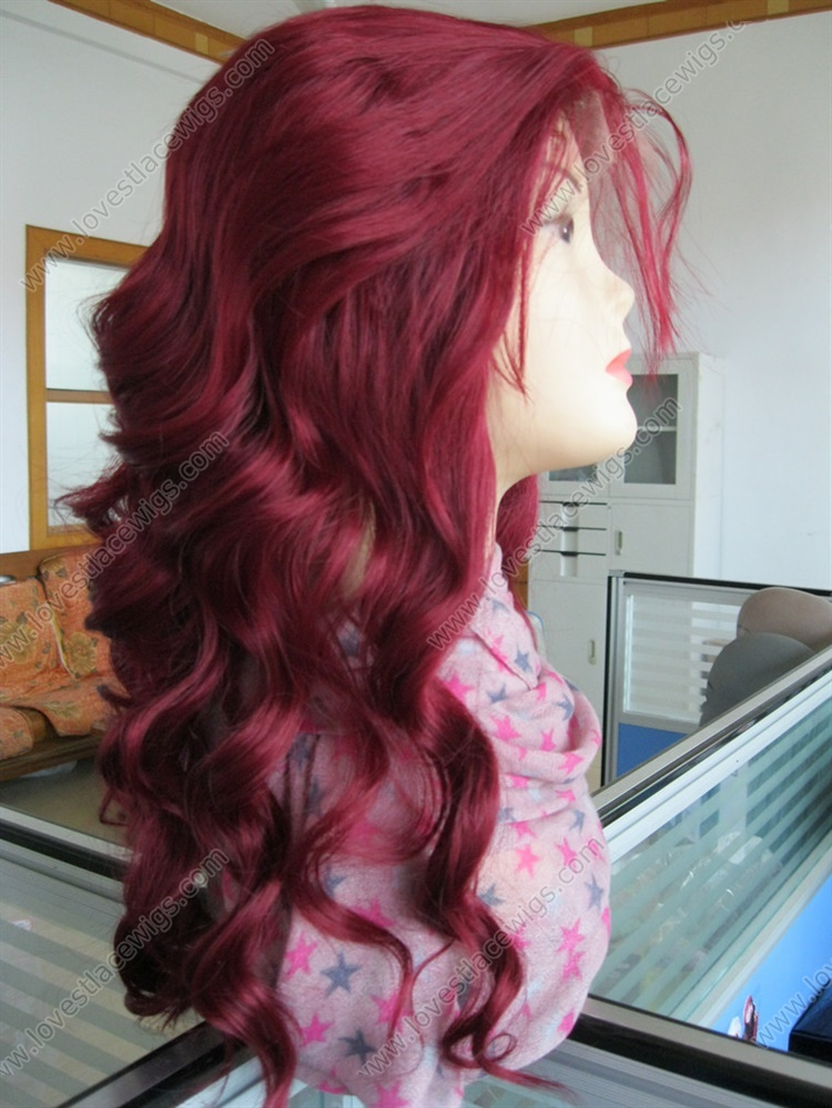 Cheap burgundy synthetic body wave fashion lace wigs