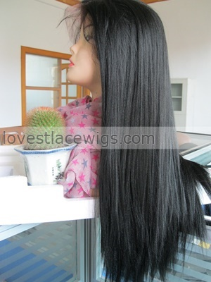 custom yaki straight synthetic hair lace front wig for black woman