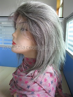 Straight 100% Chinese virgin gray hair Full Lace wigs