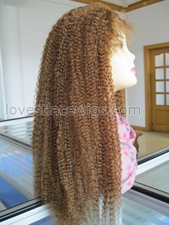 Custom #30 with #27 highlighted Afros kinky curl Indian hair Full lace wig for African American wholesale
