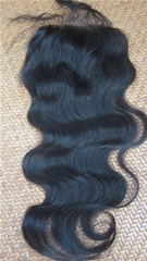 Chinese virgin hair body wave top closure in stock