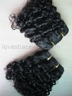8 inch 100% indian remy hair natural color big curl hair weft in stock