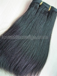 Coarse yaki chinese virgin hair natural color medium hair weft wholesale