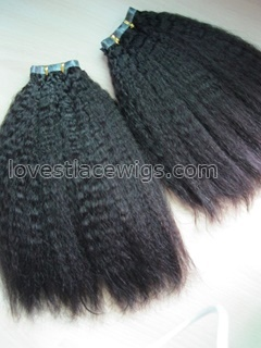Chinese virgin hair kinky straight pu hair weft