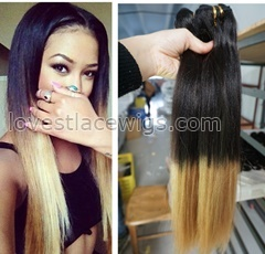 T Color Brazilian virgin hair extensions Human Hair 2 Tone Ombre WeavesHuman Hair Wefts Yaki straight Ombre Hair