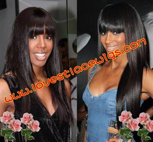 silky straight full lace wigs with bangs