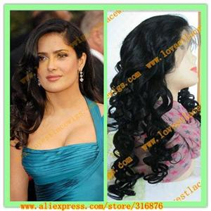 custom salma hayek loose curl indian hair celebrity full lace wig with bang